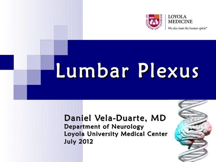 Lumbar PlexusDaniel Vela-Duarte, MDDepartment of NeurologyLoyola University Medical CenterJuly 2012