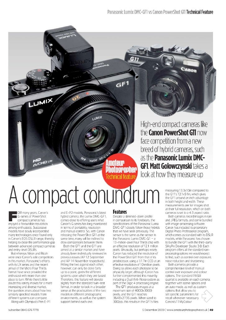Lumix Gf1 Vs Canon Powershot G11
