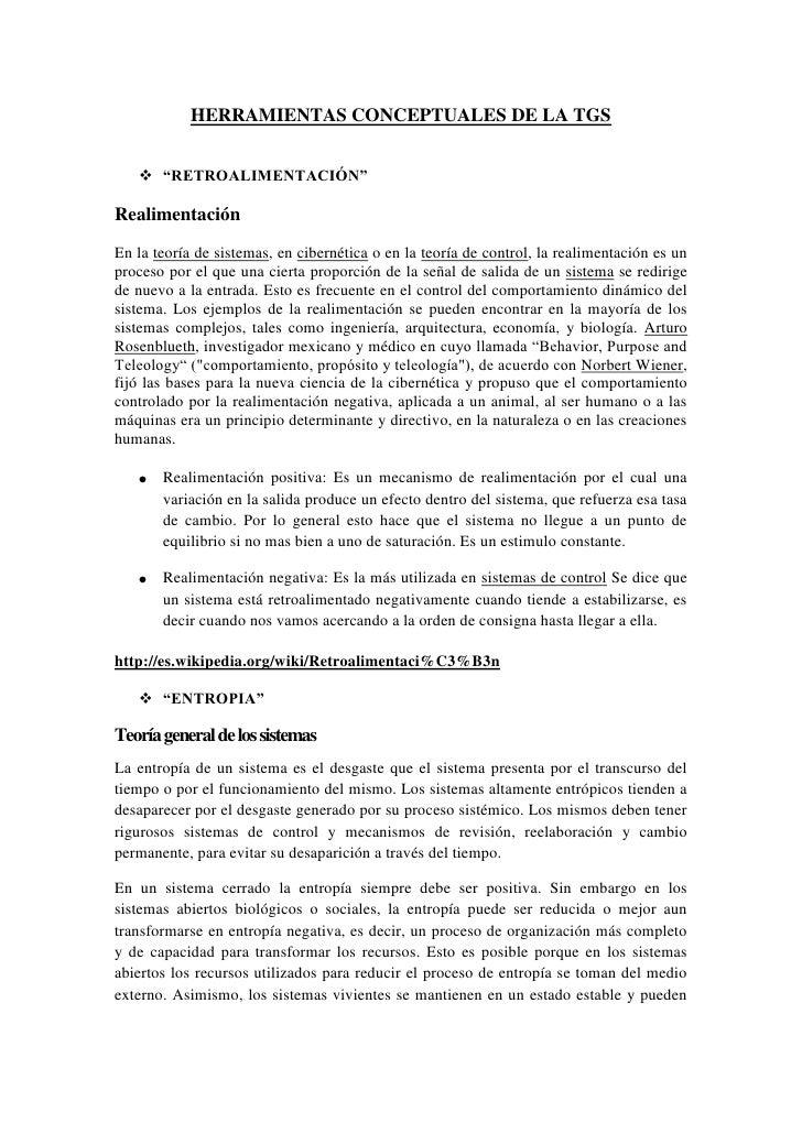 """HERRAMIENTAS CONCEPTUALES DE LA TGS<br />""""RETROALIMENTACIÓN""""<br />Realimentación<br />En la teoría de sistemas, en ciberné..."""