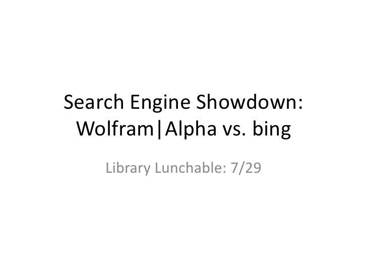 Wolfram|Alpha vs. bing
