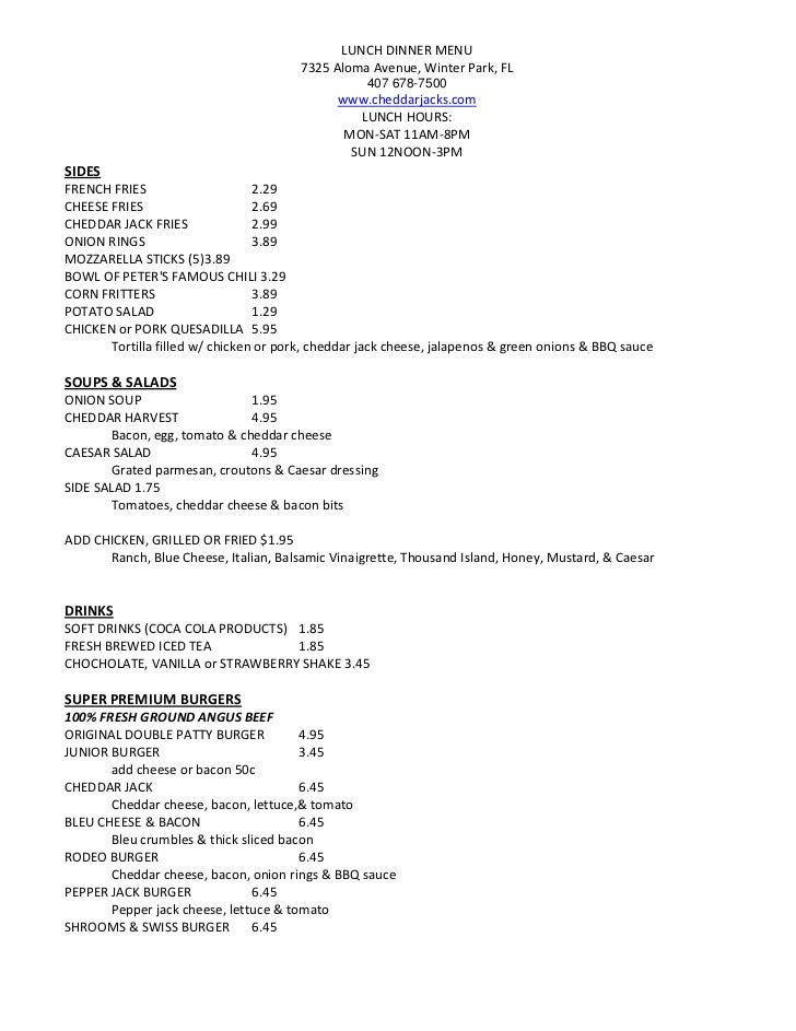 LUNCH DINNER MENU                                        7325 Aloma Avenue, Winter Park, FL                               ...