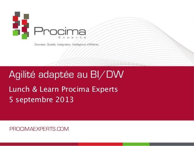 Agilité adaptée au BI/DW Lunch & Learn Procima Experts 5 septembre 2013 PROCIMAEXPERTS.COM