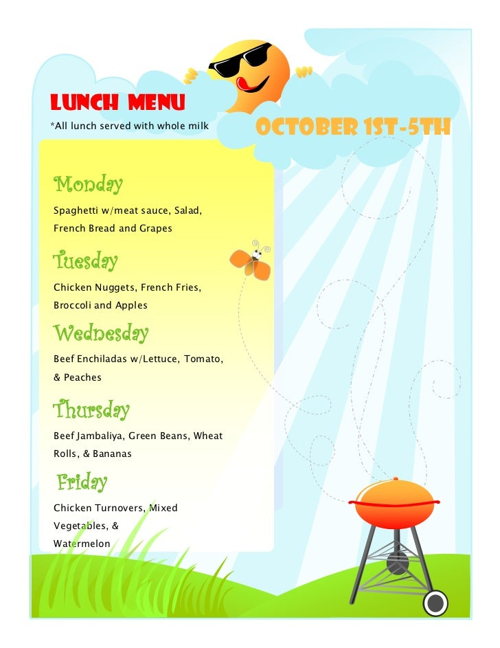 Lunch Menu*All lunch served with whole milk                                     October 1st-5thMondaySpaghetti w/meat sauc...