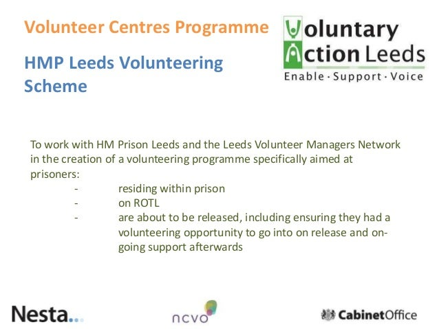 HMP Leeds Volunteering Scheme To work with HM Prison Leeds and the Leeds Volunteer Managers Network in the creation of a v...