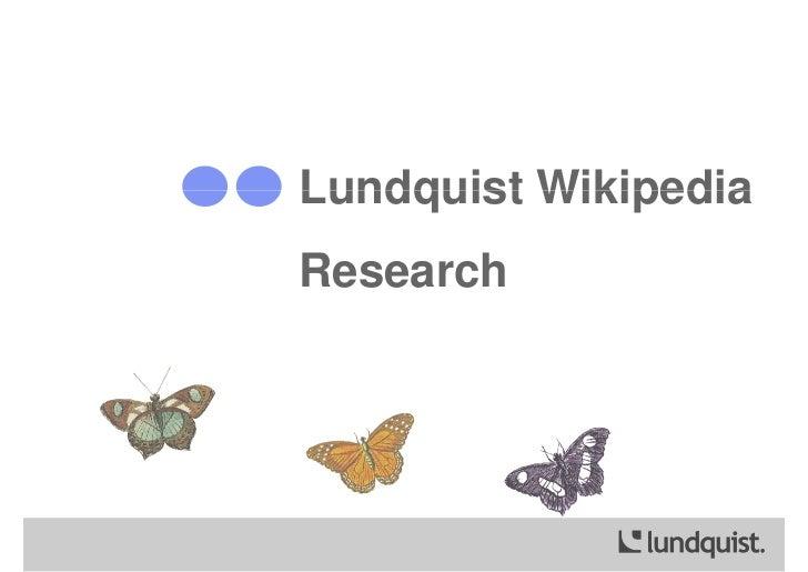 Lundquist WikipediaResearch