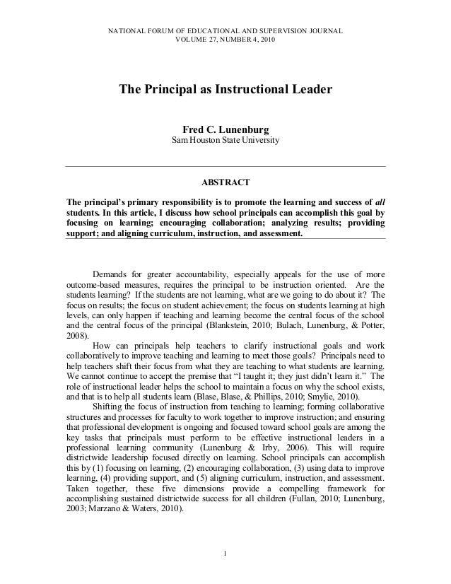 Dr. Fred C. Lunenburg -  the principal as instructional leader nfeasj v27 n4 2010