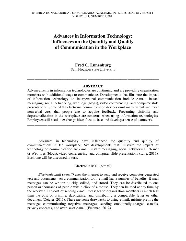 INTERNATIONAL JOURNAL OF SCHOLARLY ACADEMIC INTELLECTUAL DIVERFSITY                         VOLUME 14, NUMBER 1, 2011     ...