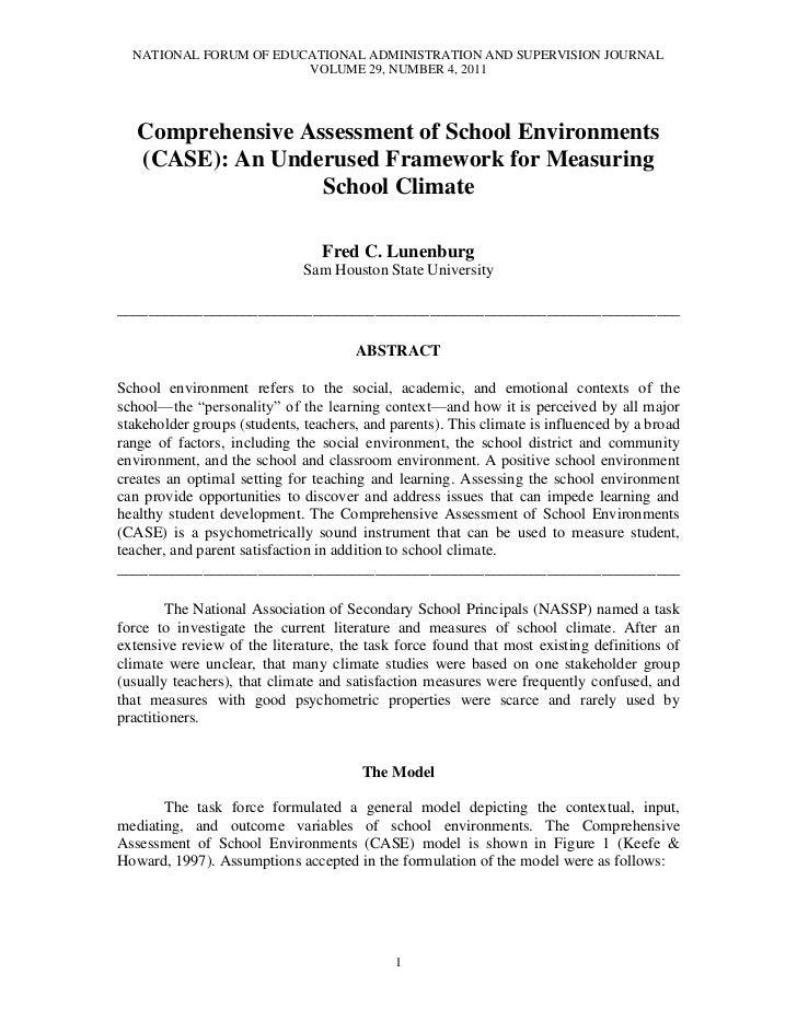 Lunenburg, fred c comprehensive assessment of school environments nfeas v29 n4, 2011