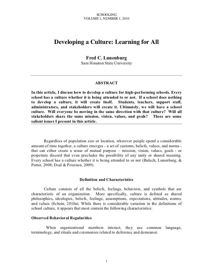 SCHOOLING                               VOLUME 1, NUMBER 1, 2010             Developing a Culture: Learning for All       ...