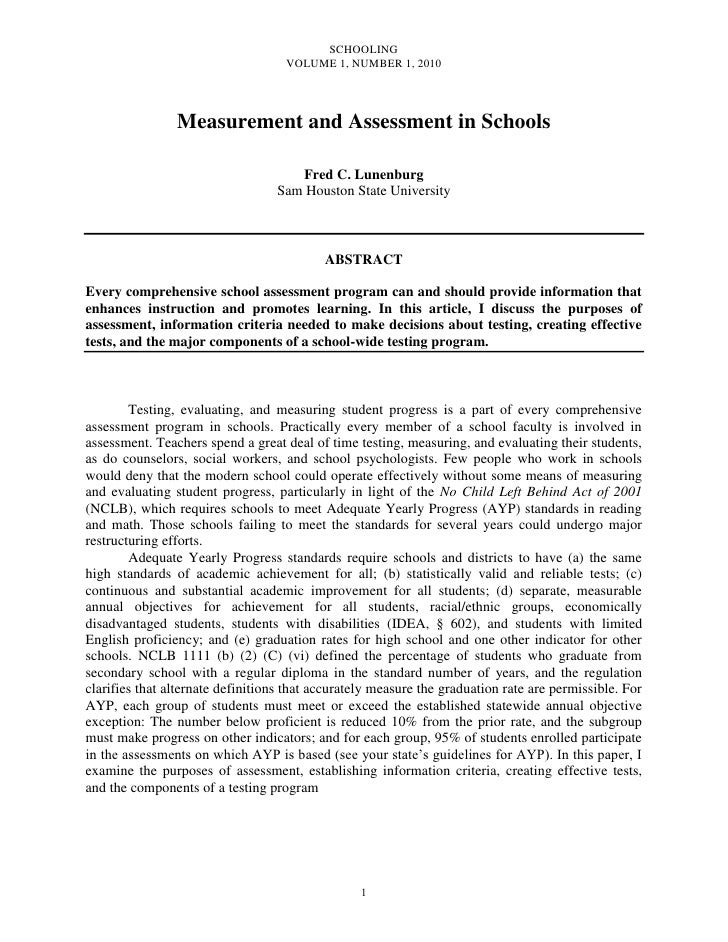 Lunenburg, fred c measurement and assessment in schools schooling v1 n1 2010