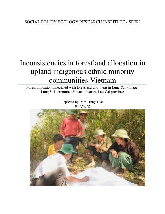 Inconsistencies in forestland allocation in upland indigenous ethnic minority communities Vietnam