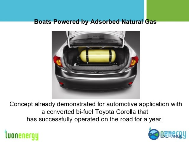 Boats Powered by Adsorbed Natural Gas Concept already demonstrated for automotive application with a converted bi-fuel Toy...