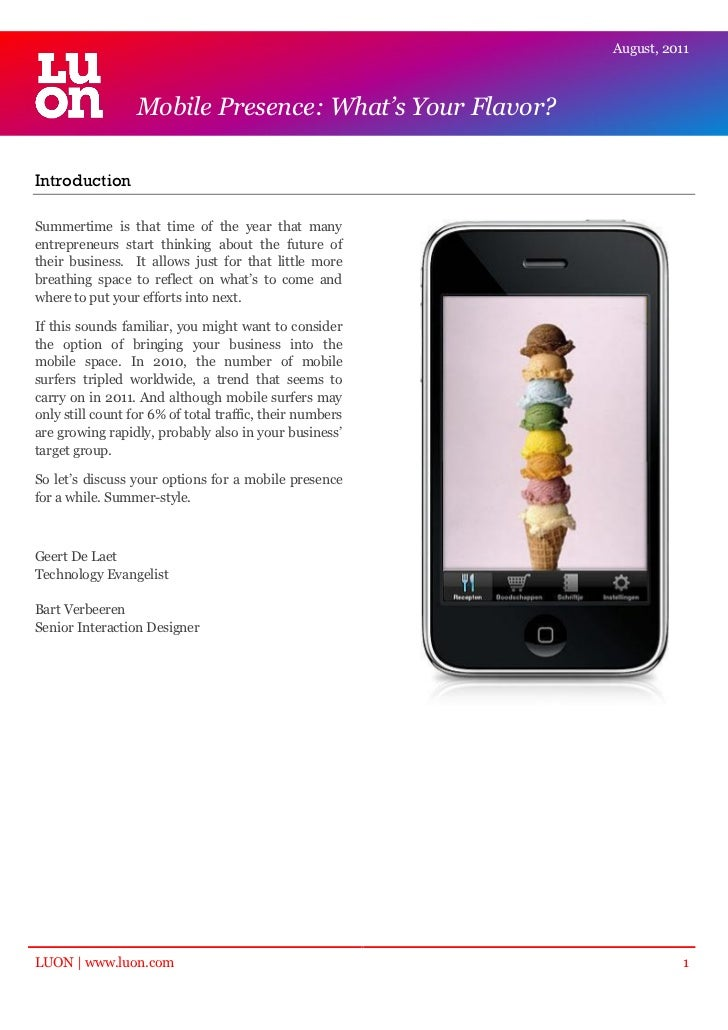 Mobile Presence: What's Your Flavor?