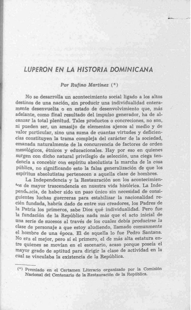 LUPERON E LA HESTORlA DOMlMlCANA                N                      Por Rufino Martinez ( * )     No se desarrolla un a...