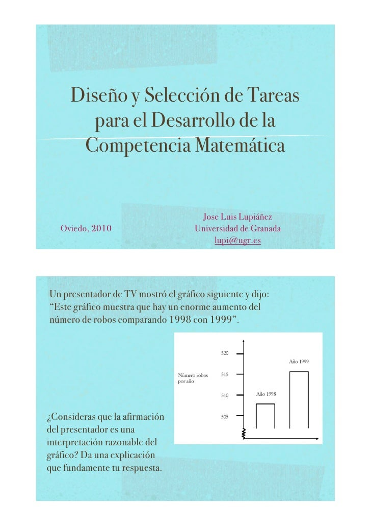 Diseño y Selección de Tareas         para el Desarrollo de la       Competencia Matemática                                ...