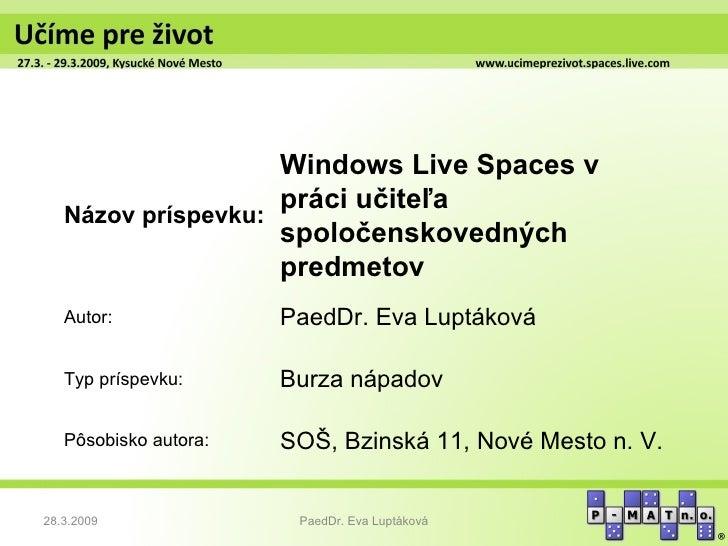 Luptakova  - wl spaces v praci ucitela