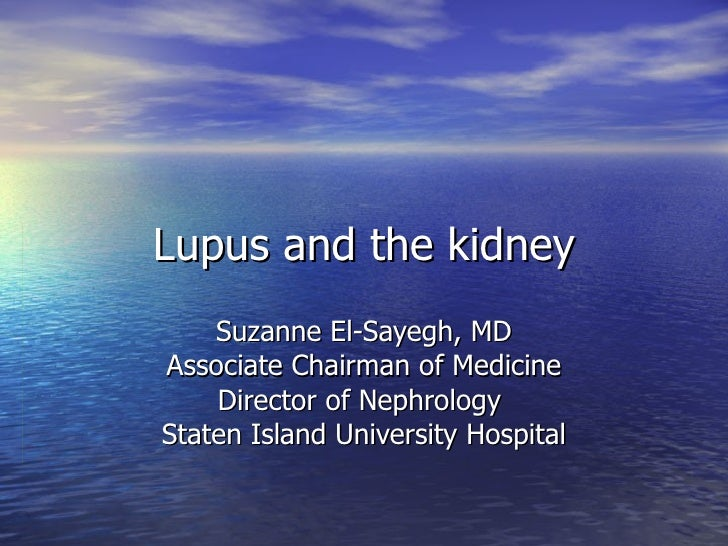 Lupus and the kidney Suzanne El-Sayegh, MD Associate Chairman of Medicine Director of Nephrology  Staten Island University...
