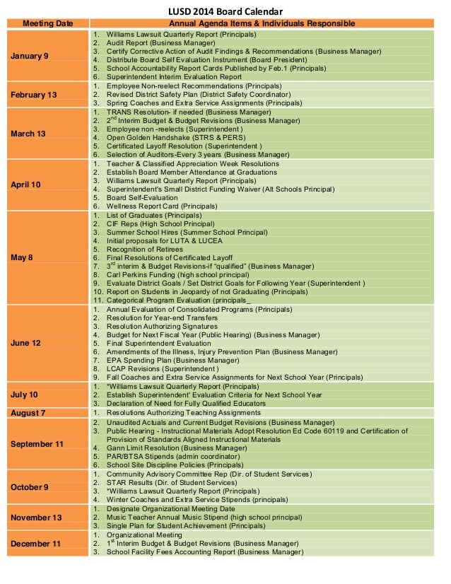 LUSD 2014 Board Calendar Meeting Date  January 9  February 13  March 13  April 10  May 8  June 12  July 10 August 7  Septe...