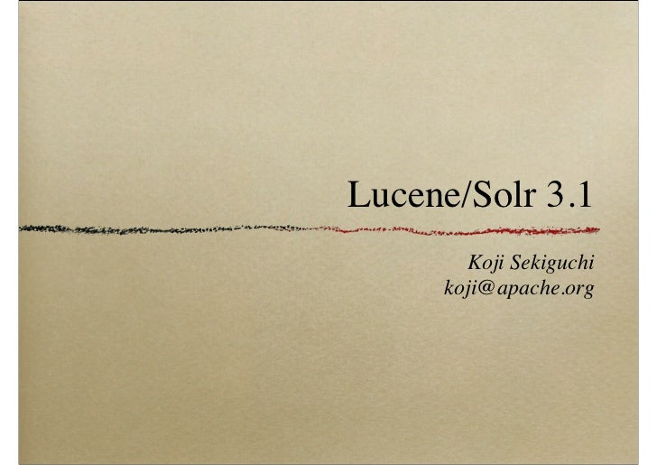 Lucene/Solr 3.1