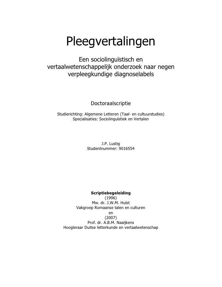 Pleegvertalingen           Een sociolinguïstisch envertaalwetenschappelijk onderzoek naar negen       verpleegkundige diag...