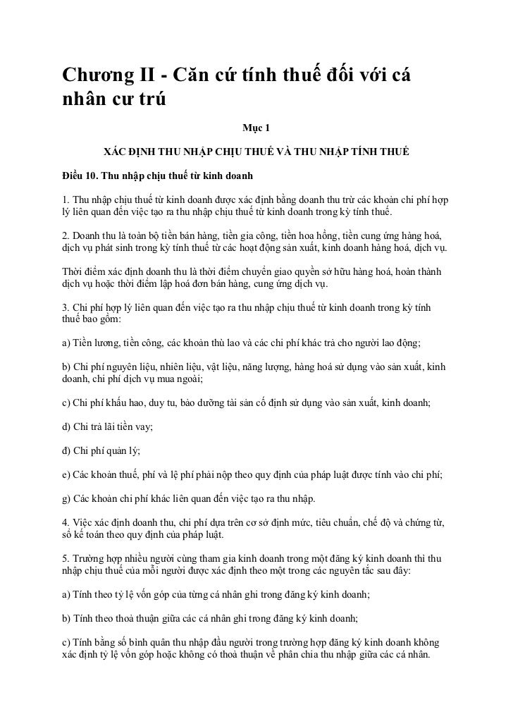 Chương II - Căn cứ tính thuế đối với cánhân cư trú                                            Mục 1          XÁC ĐỊNH THU ...