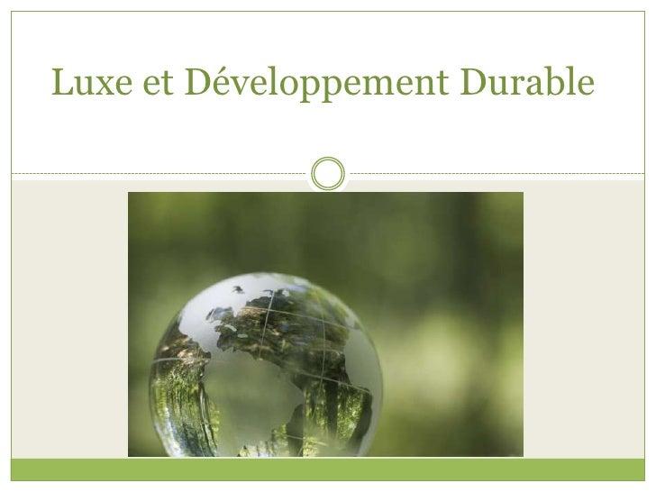 Luxe Et DéVeloppement Durable