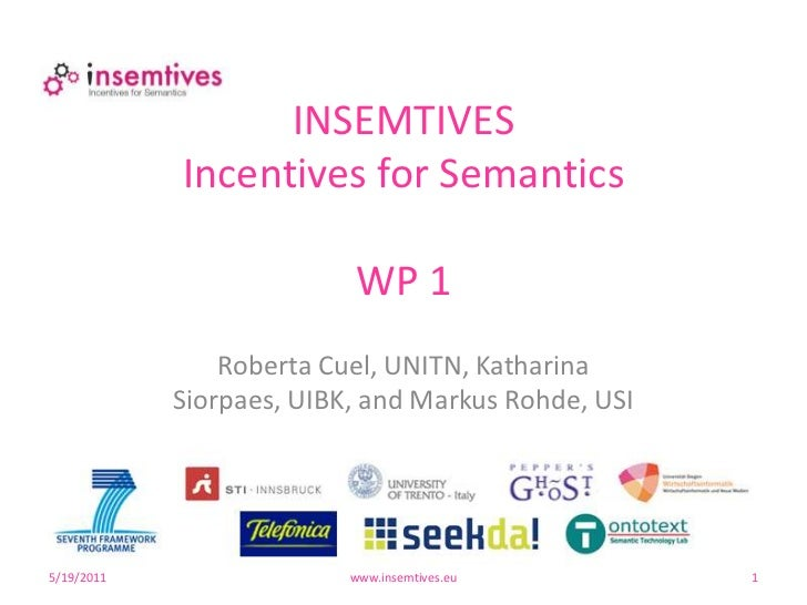 4/29/10<br />www.insemtives.eu<br />1<br />INSEMTIVESIncentives for SemanticsWP 1<br />Roberta Cuel, UNITN, Katharina Sior...