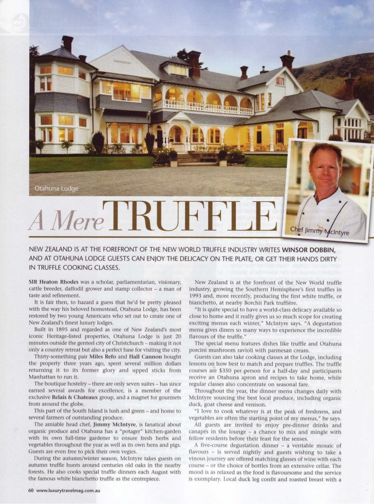 Luxury Travel October 2009 - Otahuna Luxury Lodge New Zealand