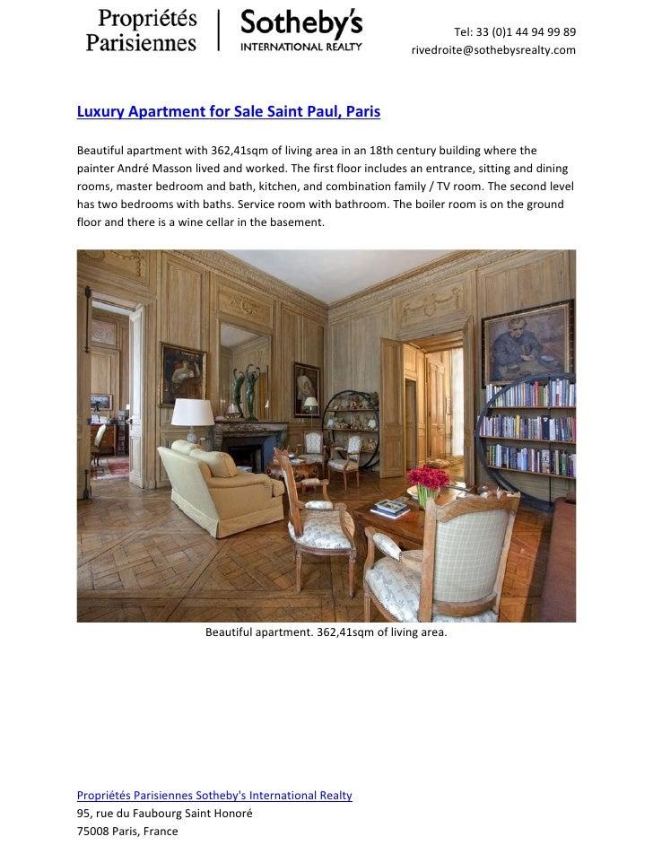 Luxury apartment for sale saint paul, paris