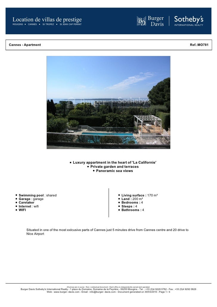 Luxury Appartment To Rent Cannes With Sea Views