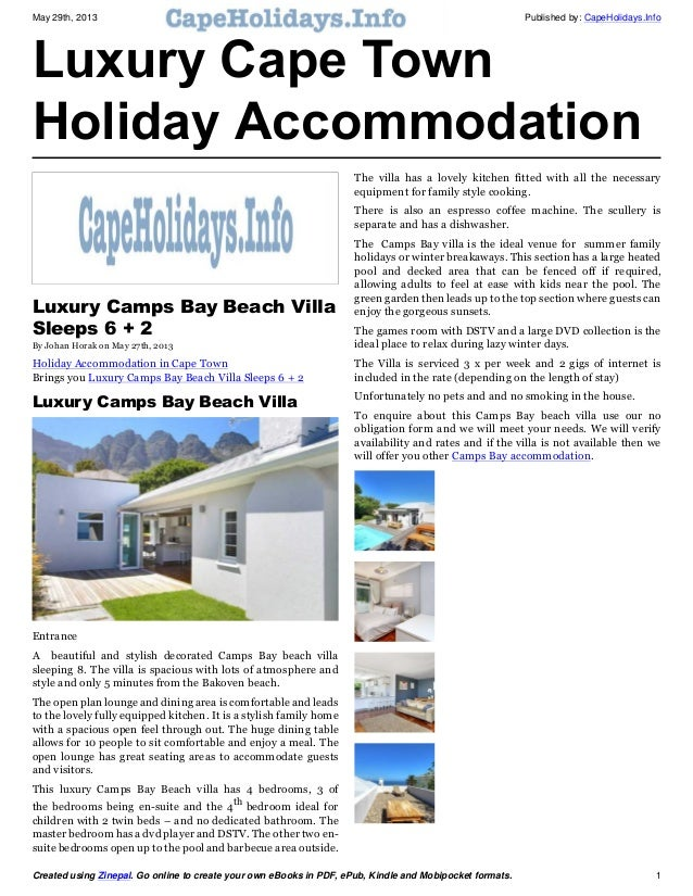 May 29th, 2013 Published by: CapeHolidays.InfoCreated using Zinepal. Go online to create your own eBooks in PDF, ePub, Kin...