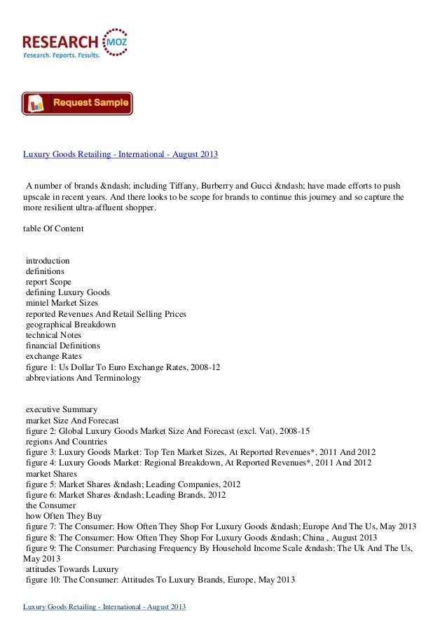 Luxury Goods International Retailing Market August 2013