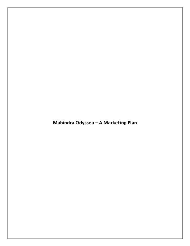 Mahindra Odyssea – A Marketing Plan