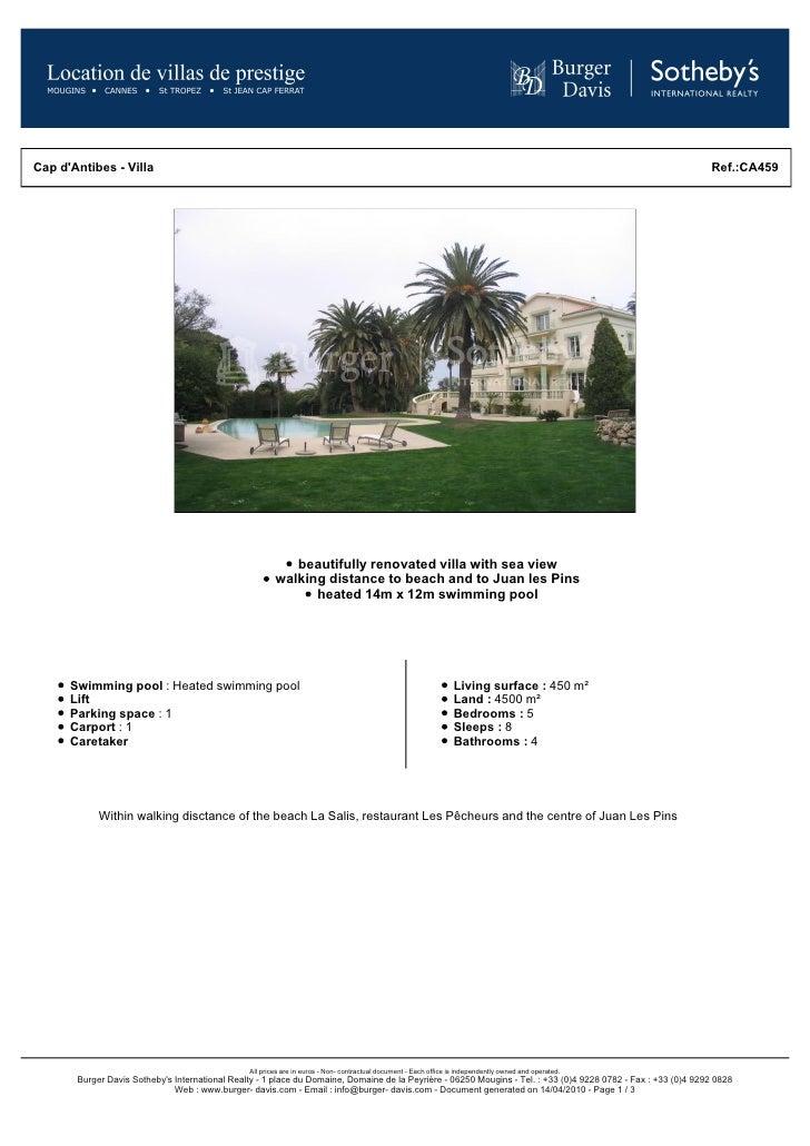 Cap d'Antibes - Villa                                                                                                     ...