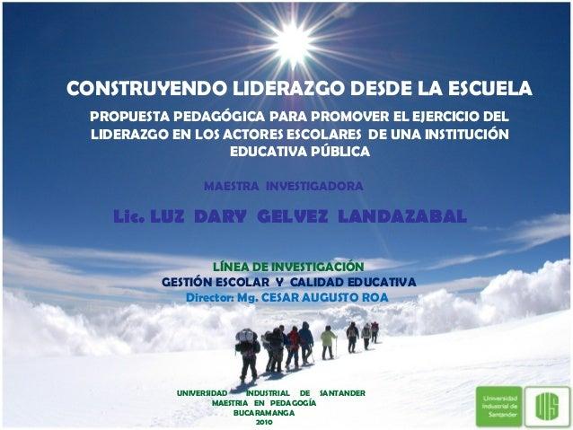 MAESTRA INVESTIGADORA Lic. LUZ DARY GELVEZ LANDAZABAL UNIVERSIDAD INDUSTRIAL DE SANTANDER MAESTRIA EN PEDAGOGÍA BUCARAMANG...