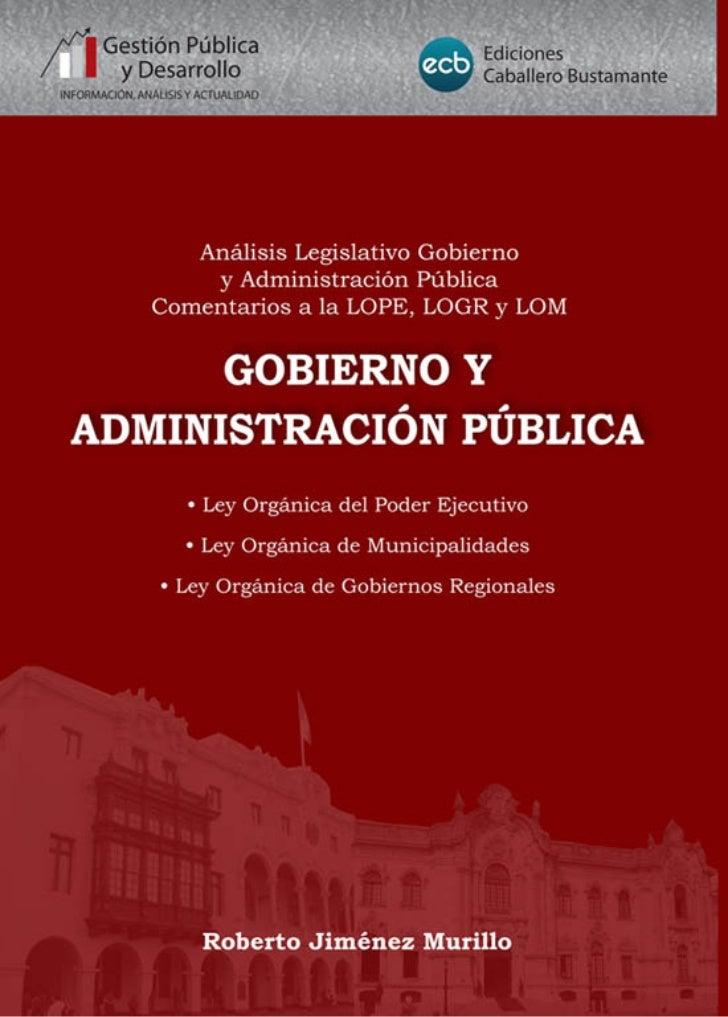 Gobierno y Administración Pública - Ley Orgánica del Poder Ejecutivo                                                      ...
