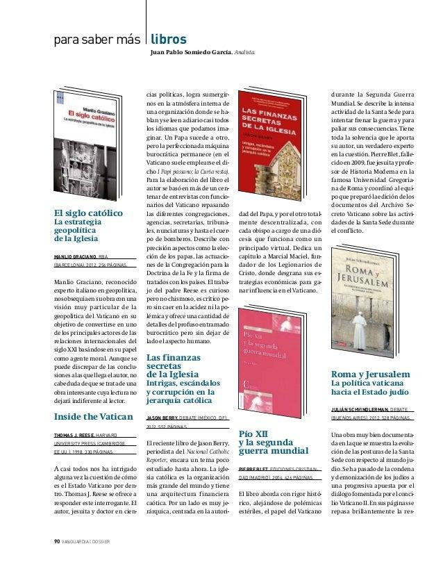 para saber más libros  Juan Pablo Somiedo García. Analista.  El siglo católico La estrategia geopolítica de la Iglesia  MA...