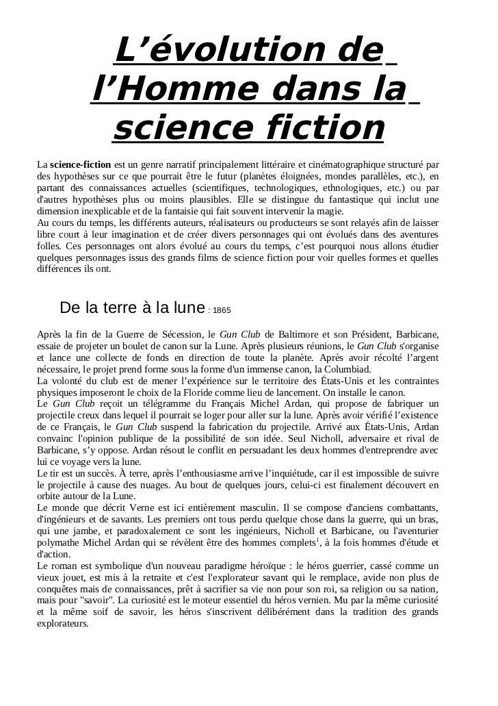 L'évolution de             l'Homme dans la               science fictionLa science-fiction est un genre narratif principal...