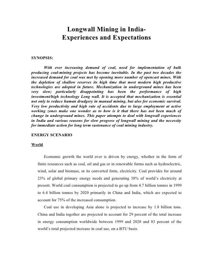 Longwall exp india-expectations