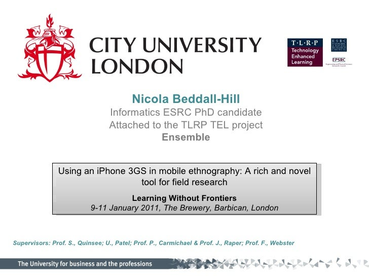 Learning Without Frontiers 2011, London- iPhone 3GS as as data collection tool