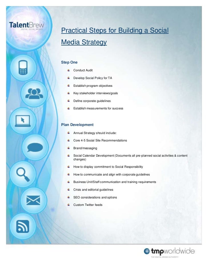 Practical Steps for Building a SocialMedia StrategyStep One      Conduct Audit      Develop Social Policy for TA      Esta...