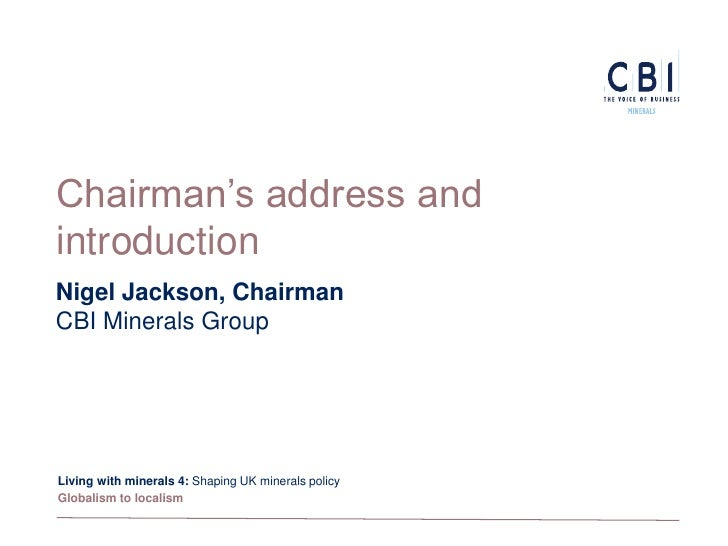 Living with Minerals 4 - Shaping UK minerals policy - Part 2