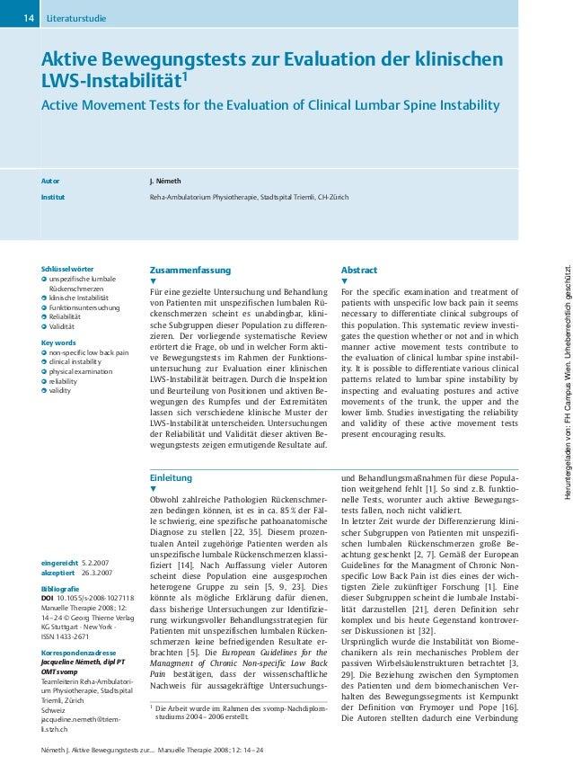 Aktive Bewegungstests zur Evaluation der klinischen LWS-Instabilität1 Active Movement Tests for the Evaluation of Clinical...