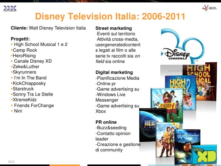 ©LX<br />Cliente: Walt Disney Television Italia<br />Progetti:<br /><ul><li> High School Musical 1 e 2