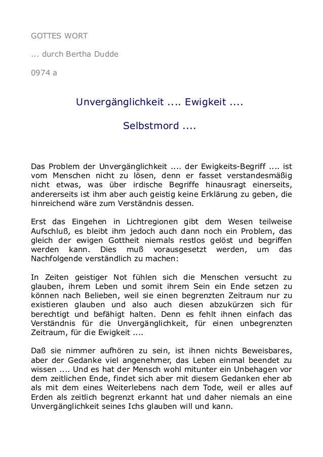 GOTTES WORT ... durch Bertha Dudde 0974 a Unvergänglichkeit .... Ewigkeit .... Selbstmord .... Das Problem der Unvergängli...