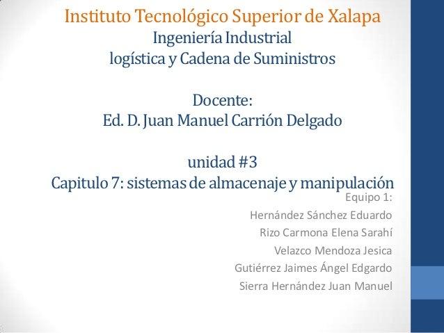 Instituto Tecnológico Superior de Xalapa               Ingeniería Industrial        logística y Cadena de Suministros     ...