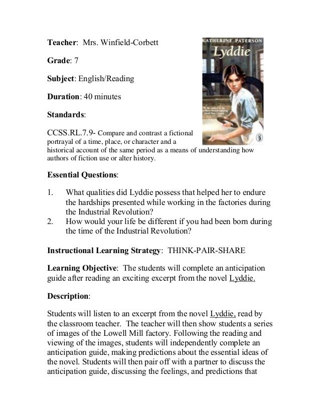 Teacher: Mrs. Winfield-Corbett Grade: 7 Subject: English/Reading Duration: 40 minutes Standards: CCSS.RL.7.9- Compare and ...