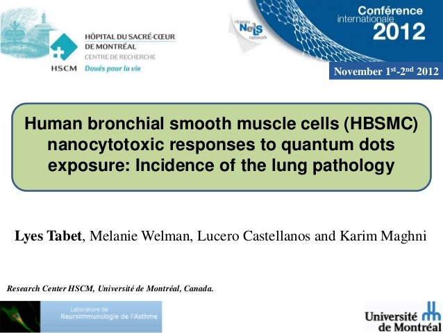 November 1st-2nd 2012    Human bronchial smooth muscle cells (HBSMC)      nanocytotoxic responses to quantum dots      exp...
