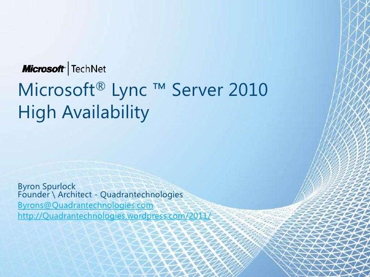 Lync 2010 High Availability