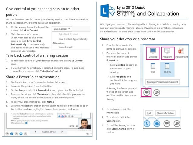 Lync 2013 - Sharing and Collaboration - Quick Reference 2 Pager